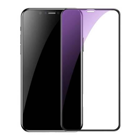 Baseus 2x szkło na cały ekran Full Screen z ramką 0.3mm 9H Anti-bluelight iPhone 11 / iPhone XR + pozycjoner czarny (SGAPIPH61S-KD01)