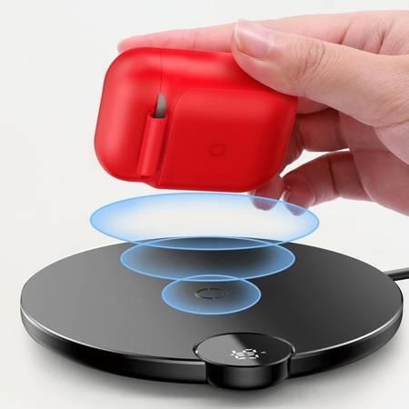 Baseus AirPods Wireless Charger Case silikonowe etui na słuchawki Apple AirPods z funkcją bezprzewodowego ładowania (WIAPPOD-09) czerwony