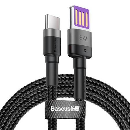 Baseus Cafule kabel przewód USB Typ C SuperCharge 40W Quick Charge 3.0 QC 3.0 1m szaro-czarny (CATKLF-PG1)