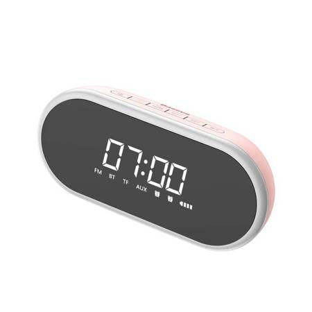 Baseus Encok E09 bezprzewodowy głośnik, zegarek, budzik i lampka nocna różowy (NGE09-04)
