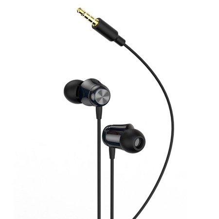 Baseus Encok H13 dokanałowe słuchawki 3.5mm mini jack zestaw słuchawkowy z pilotem czarny (NGH13-01)