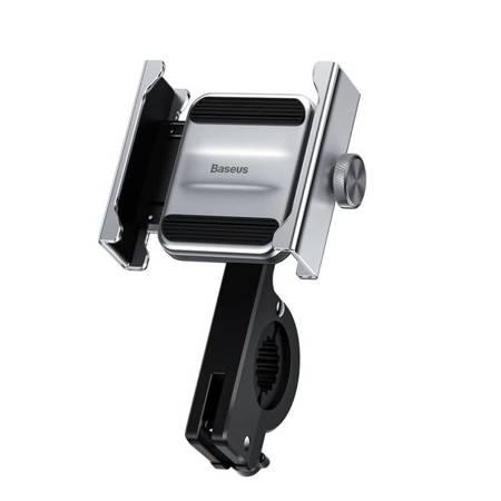 Baseus Knight metalowy uchwyt do telefonu na rower motor motocykl na kierownicę srebrny (CRJBZ-0S)