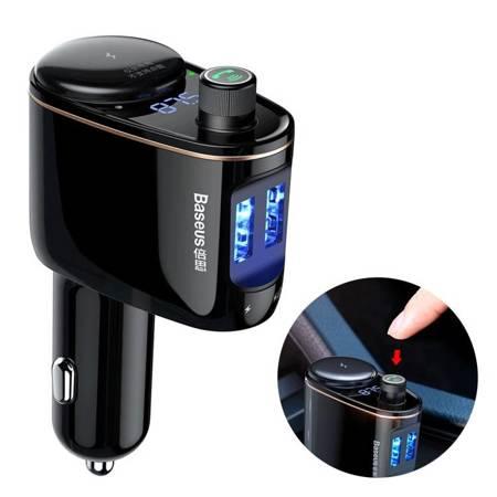 Baseus Locomotive Transmiter FM Bluetooth ładowarka samochodowa 2x USB 3.4A czarny (CCALL-RH01)