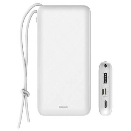 Baseus Mini Q power bank 20000 mAh USB / USB-C / micro USB 3A 15W + smycz biały (PPALL-DXQ02)
