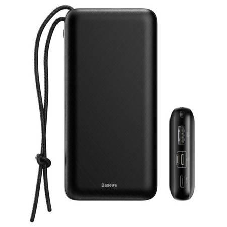 Baseus Mini Q power bank 20000 mAh USB / USB-C / micro USB 3A 15W + smycz czarny (PPALL-DXQ01)