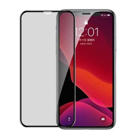 Baseus szkło na cały ekran Full Screen Privacy Anti-Spy z ramką 0.23mm 9H iPhone 11 Pro Max / iPhone XS Max + pozycjoner czarny (SGAPIPH65-CTG01)