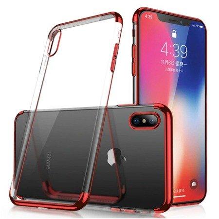 Clear Color case żelowy pokrowiec etui z metaliczną ramką Huawei P30 Lite czerwony