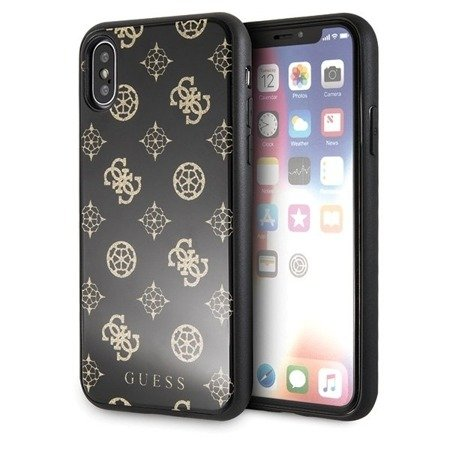 Etui Guess GUHCPXTGGPBK iPhone X/Xs czarny /black hard case Peony G Double Layer Glitter