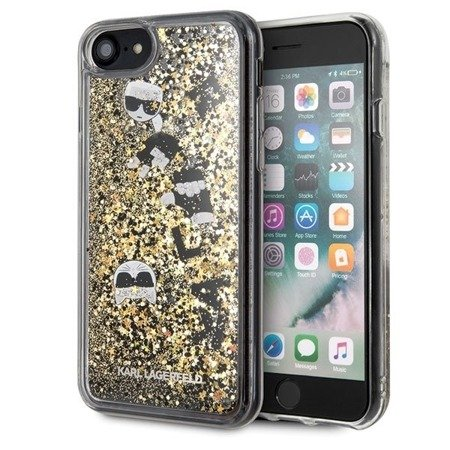 Etui Karl Lagerfeld KLHCI8ROGO iPhone 7/8 czarno-złoty/black & gold hard case Glitter
