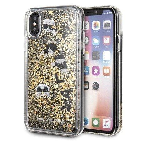 Etui Karl Lagerfeld KLHCPXROGO iPhone X/Xs czarno-złoty/black & gold hard case Glitter