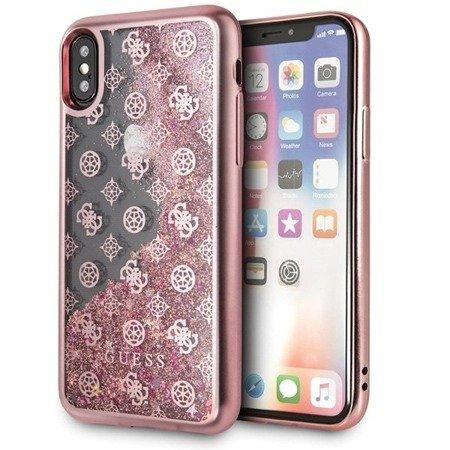 Guess GUHCPXPEOLGPI iPhone X/Xs różowy /pink hard case 4G Peony Liquid Glitter