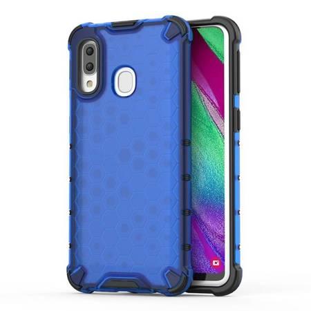 Honeycomb etui pancerny pokrowiec z żelową ramką Samsung Galaxy A40 niebieski
