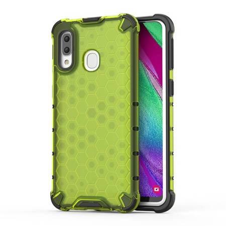 Honeycomb etui pancerny pokrowiec z żelową ramką Samsung Galaxy A40 zielony