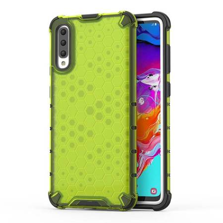 Honeycomb etui pancerny pokrowiec z żelową ramką Samsung Galaxy A70 zielony