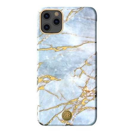 Kingxbar Marble Series eleganckie etui pokrowiec z nadrukiem marmur iPhone 11 biało-błękitny
