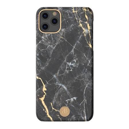 Kingxbar Marble Series eleganckie etui pokrowiec z nadrukiem marmur iPhone 11 czarny