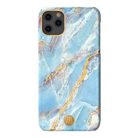 Kingxbar Marble Series eleganckie etui pokrowiec z nadrukiem marmur iPhone 11 niebieski