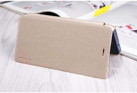 Nillkin Sparkle skórzany pokrowiec futerał Huawei P10 Lite złoty
