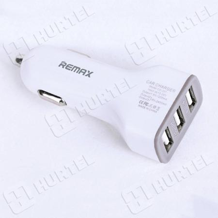 REMAX uniwersalna ładowarka samochodowa 3 x USB 2.4A 1.2A biała
