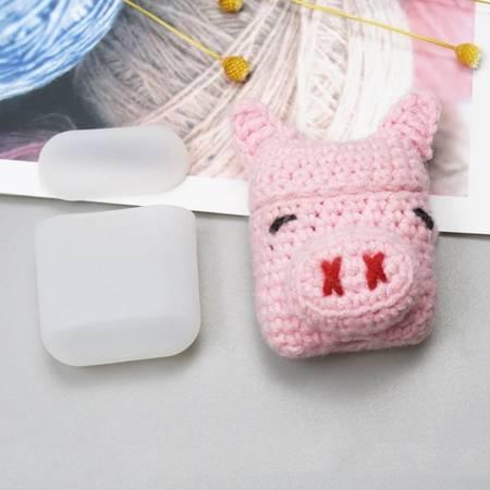 Silikonowe etui pudełeczko case na słuchawki AirPods 2gen / 1gen z wełnianą nakładką świnka