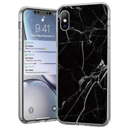 Wozinsky Marble żelowe etui pokrowiec marmur Huawei P30 Lite czarny
